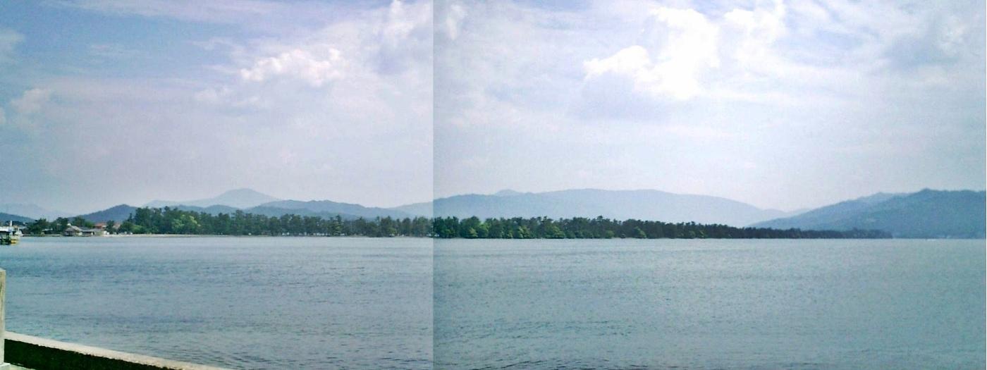 海岸から撮影した天橋立パノラマ合成写真