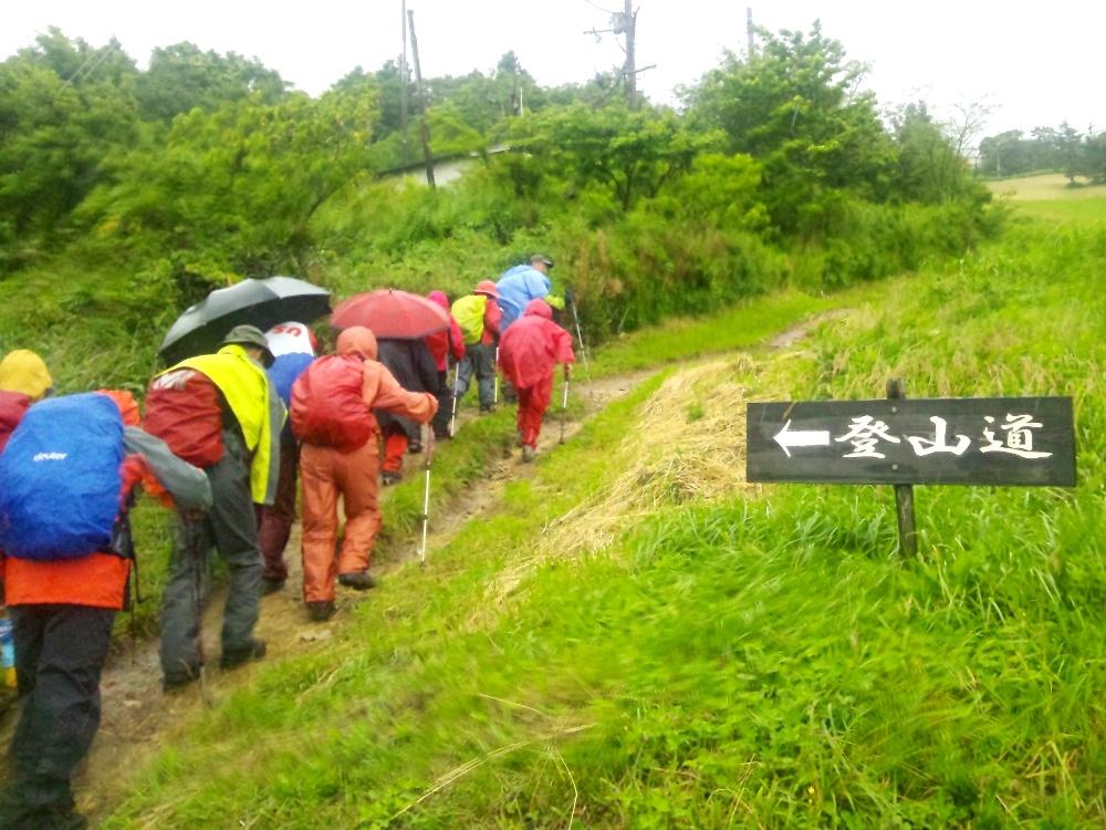 雨の登山道を進む